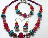 Summer Blast Jewelry Set-  Lampwork, Turquoise, Jade and Quartz in Sterling Silver
