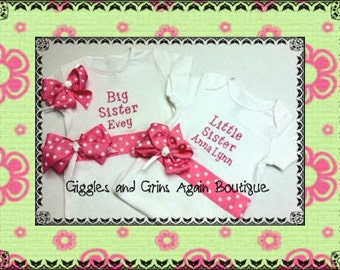 Sibling Set - Big Sister, Little Sister Sibling Set Embroidered and Personalized