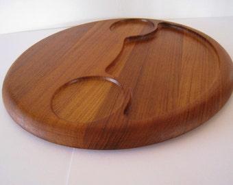 Danish modern teak cheese serving tray or cutting board.