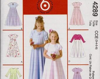 6 Great Looks McCall's 4289, Girls Dresses, Size 3-4-5-6, UNCUT