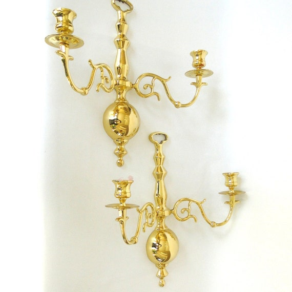 Vintage Sconces Beautiful Baldwin Brass Gleaming by BelatedDesigns