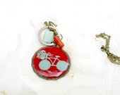 Red pastel green Jewelry   Necklace   Hand Painted bicycle flower  basket Original Natural