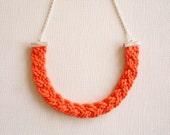 Orange Cord Necklace, Cord necklace, Rope Necklace, Braided Necklace, Cotton Cord, Orange necklace, Everyday Jewelry, Orange