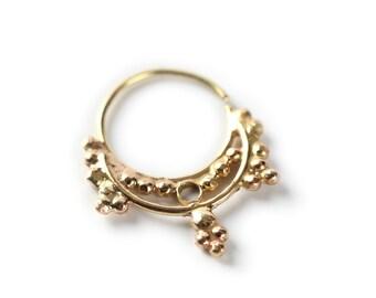 NOSE RING - Hindi Gold nose ring 14 karat yellow gold - gold Nose Ring- nose jewelry - septum ring - tragus piercing