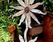 Reclaimed Wood Flower Rustic Wall Decor Rusty Metal Folk Art Garden Art Industrial