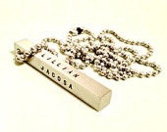Personalized Bar Necklace - Hand Stamped Stainless Steel 4-Sided Bar - Men's Gift Idea - Custom Gift for Him - Daddy Husband Grandpa Father