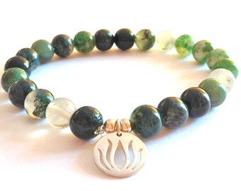 Green Moss Agate Gemstone Wrist Mala/Bracelet Silver Lotus Charm WARRIOR