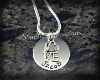 Personalized Single Disk Mother's Necklace w/Love Charm