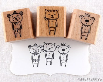 Three bear cat pig Rubber Stamps set