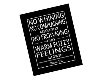 "Typography Subway Art Print No Whining Quote in Black and White 8"" x 10"""