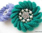 CROCHET PATTERN Crochet Brooch, Mohair Flower Brooch, DIY Craft Crochet Flower Tutorial, Instant Digital Download Pdf Pattern No.33