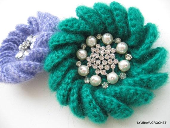 CROCHET PATTERN Crochet Brooch Mohair Flower by LyubavaCrochet