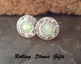 9mm Chrysolite Opal & Silver Swarovski Rhinestone Surrounds Stud Earrings-Chrysolite Opal Crystal Studs-Opal Rhinestone Stud Earrings