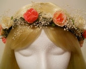 Flower Crown, Head Wreath, Coral, Peach, Rose, Babies Breath, for Wedding, Flower Girl, Bridal, Hair Accessories, Spring, Festivals, Tiara
