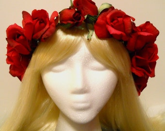 Red Flower Crown Head Wreath Real Touch Red Rose Roses Crown Valentines Day Wedding Flower Girl Bride Holiday White Ivory Tiara Christmas