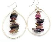 Tourmaline Hoop Earrings/ tourmaline earrings jewelry