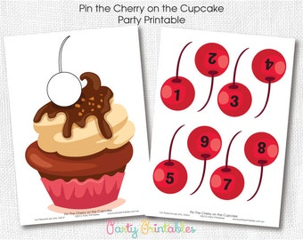 Pin the Cherry on the Cupcake Party Game-Digital File