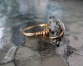 The Mineral Ring- Wire wrapped ring with a raw crystal rock, available red, brown, copper, silver, or gold
