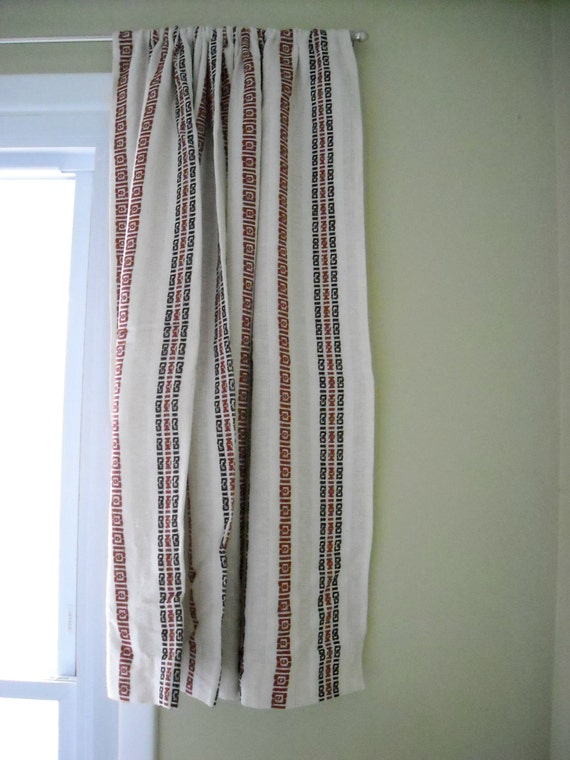 off white woven cotton curtains drapes with orange and brown striped