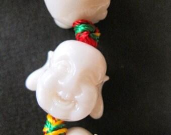 4 White HAPPY BUDDHAS