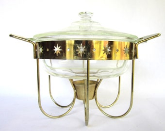 Mid Century Modern Casserole Chafing Set, Fire King Divided Glass Dish Atomic Age Gold Stars