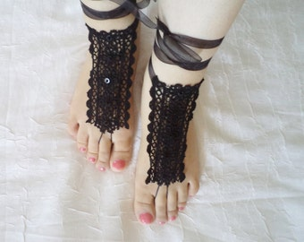 Boho Shoes, Sandals, Sexy Accessories, bridal sandals, wedding shoes, barefoot sandals, Bridesmaid gift, Foot Accessories, Black Shoes