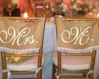 Burlap Wedding Chair signs - Mr and Mrs chair signs - Lace wedding - Wedding decorations