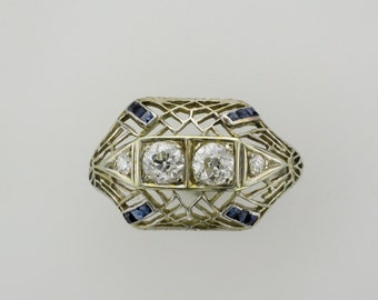 Ladies Platinum Diamond and Filigree Ring; Platinum Ring; Diamond Ring; Platinum Ring; Platinum Filigree Ring