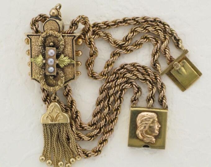 Ladies Early Victorian 14 Karat Yellow Gold Slide Bracelet with Tassels, Enamel and Seed Pearls