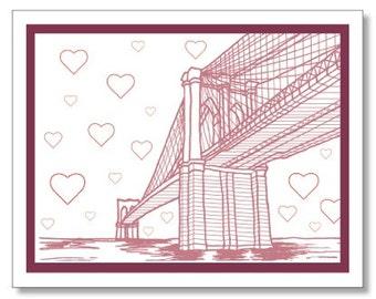 Modern Brooklyn Bridge Card. New York City Love Card. Made in Brooklyn - NY Valentine's Day Card - Brooklyn Valentine Card
