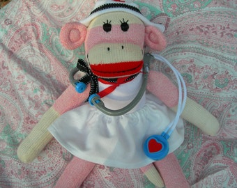 Nurse Classic Red Heel Pink Sock Monkey Doll