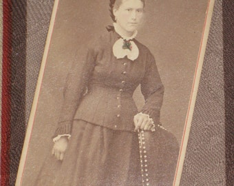 Victorian Young Woman With Braided Hair & Corsage - Antique Tinted CDV Photo - 1870s