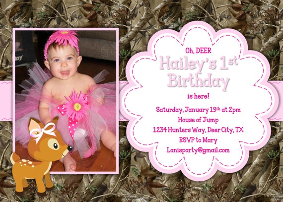 Camo Birthday Invitation - Pink Girl Oh Deer Hunting 1st First Invites Camouflage Hot Pink Teen Photo Picture - Printable DIY Digital