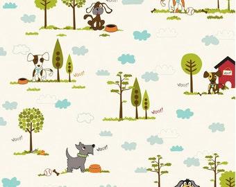 "Puppy Park Main Cream ""Puppy Park"" by Bella Blvd 1 yard Cut by Riley Blake Designs"