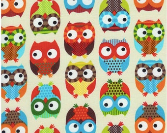 Bright Owl by Alice Kennedy Cream half yard cut, Timeless Treasures.