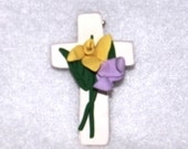 Polymer Clay Easter Lily Cross Pin