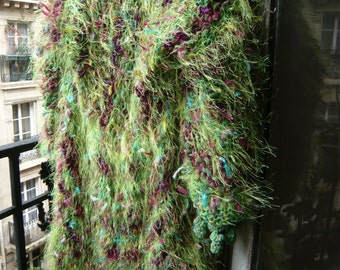 handknitted coat,eccentric,fairy,luminous,colourful,gypsy,psychedelic,vivid fresh flowered field,from green to purple .OOAK,FREE SHIPPING