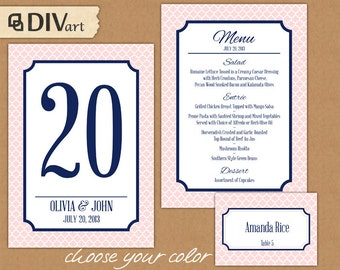 PRINTABLE Wedding Set: Wedding Menu, Rehearsal Dinner Menu, Table Numbers, Place Cards - navy and pink or custom color - quatrefoil - 246
