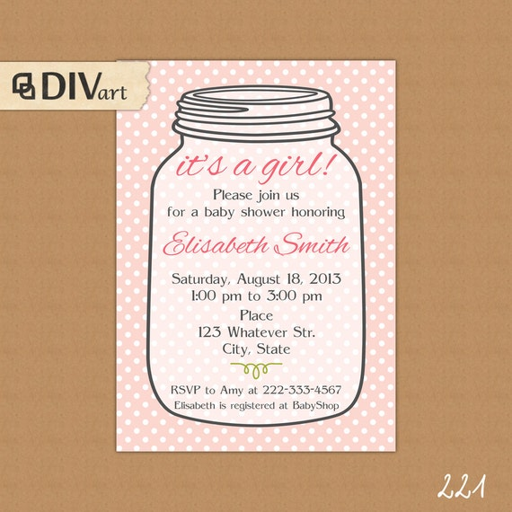 printable 5x7 baby shower invitation mason jar polka dots pink
