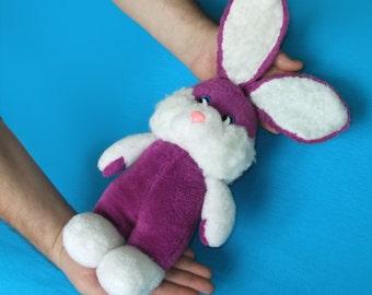 Vintage Soviet Violet Hare, Plush Animal Toy, Stuffed Toy