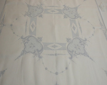 "No. 200 ANTIQUE APPENZELL Blue and White LINEN Bedroom Tablecloth 32"" X 33"" Pristine and Unused"