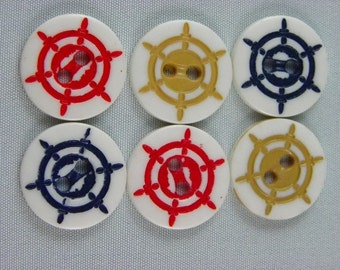 Vintage Buttons - Nautical variety, red, white and tan - Lot of 33 (19 blue, 11 tan, 3 red)