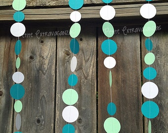 Sea Glass Inspired Paper Circle Garland- Teal, Mint, White