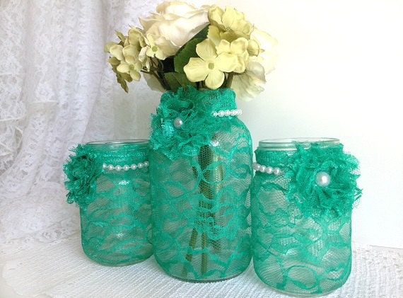 Seafoam green 3 piece mason jars perfect for wedding by for Seafoam green home decor