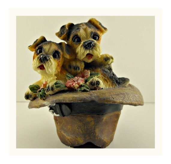 Terrier Puppies - Fadora -  Vintage Dog Collectible - Dog Figurine - Dog Miniature - TAGT