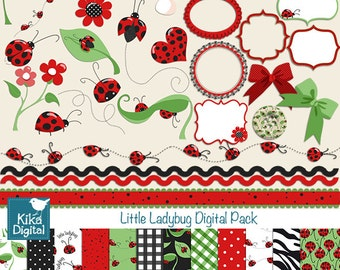 Ladybug Digital Clipart and Paper Pack - Scrapbooking , card design, invitations, stickers, paper crafts, web design - INSTANT DOWNLOAD