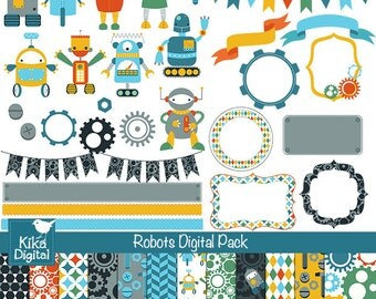 Robots Digital Clipart and Paper Pack - Scrapbooking , card design, invitations, stickers, paper crafts, web design - INSTANT DOWNLOAD