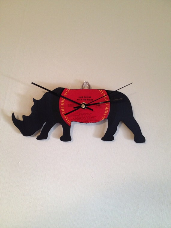 Recycled Vinyl Rhino Clock- Handmade and Hand Cut