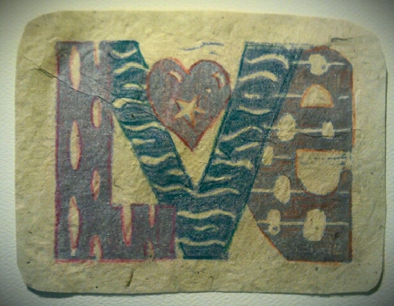 Love 5 x 7 linocut card