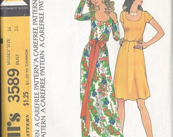 Vintage 1973 McCalls Womens Dress Pattern 3589 Size 14 Bust 36